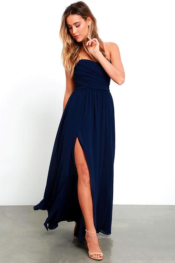 Pretty Navy Blue Gown - Strapless Dress - Maxi Dress - $82.00