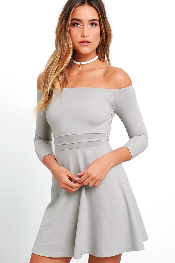 6d35e246b9 Cute Grey Dress - Skater Dress - Mesh Dress - Off-the-Shoulder Dress ...
