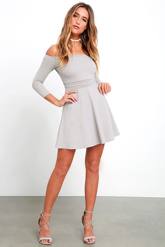 515c0cadd704 Cute Grey Dress - Skater Dress - Mesh Dress - Off-the-Shoulder Dress ...