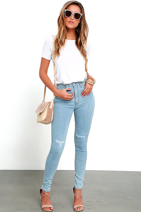 High-Waisted Jeans - Light Wash Jeans - Distressed Jeans - $69.00