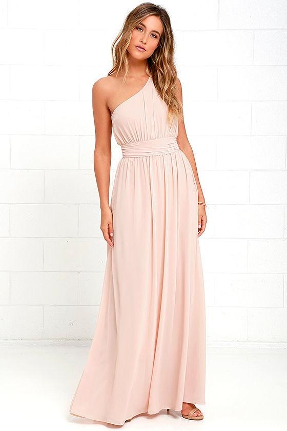 One-Shoulder Gown - Blush Maxi Dress - Bridesmaid Dress - $84.00