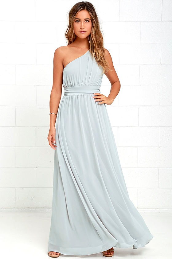 One Shoulder Gown Grey Maxi Dress Bridesmaid Dress 84 00