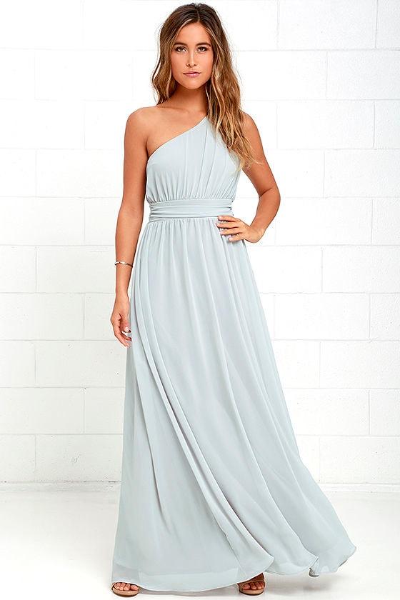 One-Shoulder Gown - Grey Maxi Dress - Bridesmaid Dress - $84.00