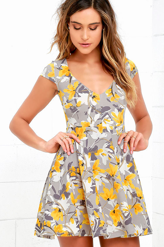 8676246e8ac5b Floral Print Dress - Grey and Yellow Dress - Skater Dress - $48.00