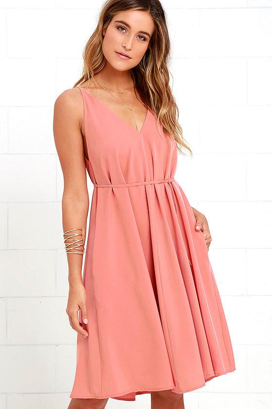 Dusty Rose Dress - Midi Dress - Tassel Dress -  44.00 ab1e943f5
