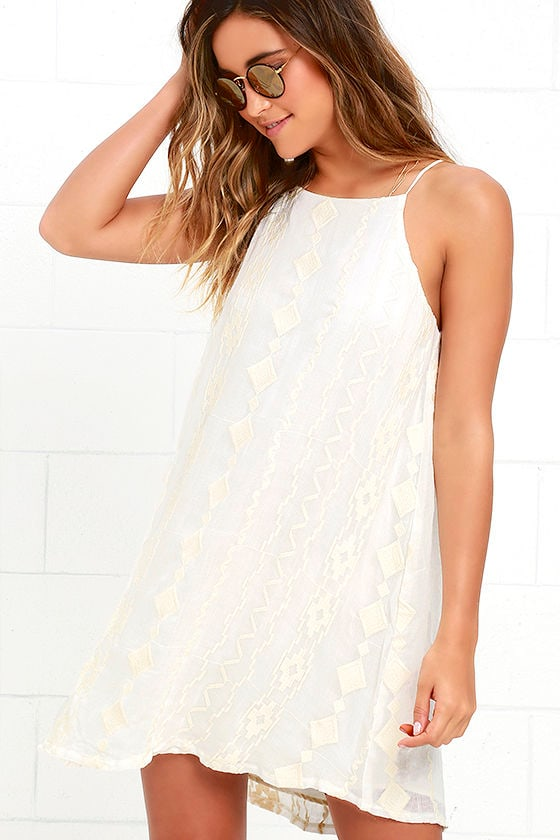 dc4ce0054975 Cute Embroidered Dress - Cream Dress - Swing Dress -  54.00