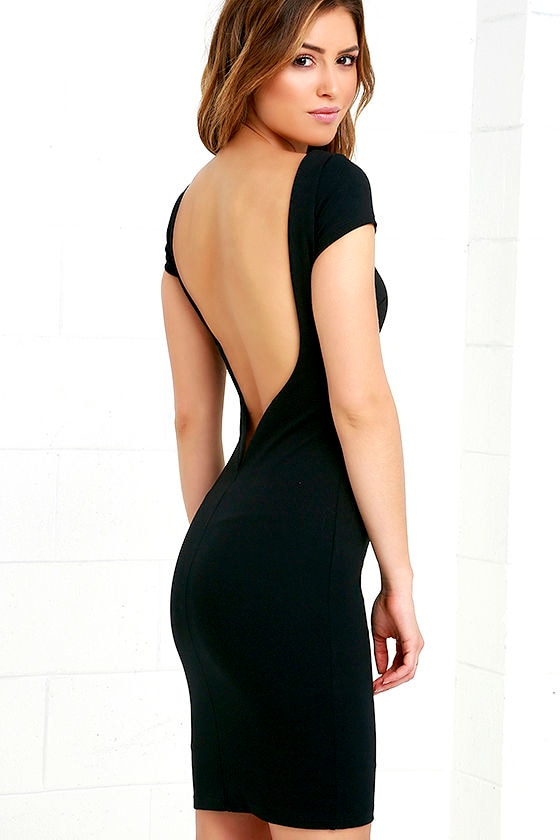 5ae464a8f82 Daring Dame Black Backless Bodycon Dress