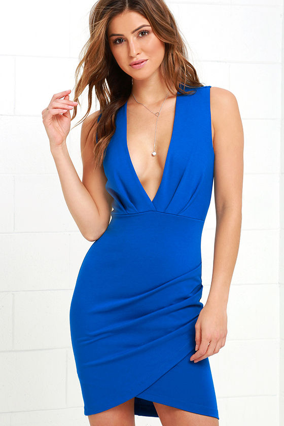 Blue Dress - Wrap Dress - Sleeveless Dress - $48.00