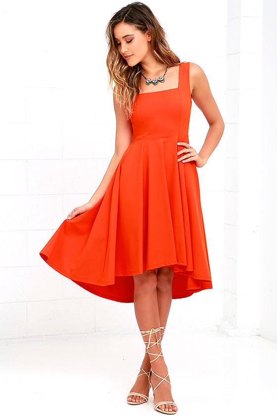 High Low Dress Orange Dress Fit And Flare Dress 64 00