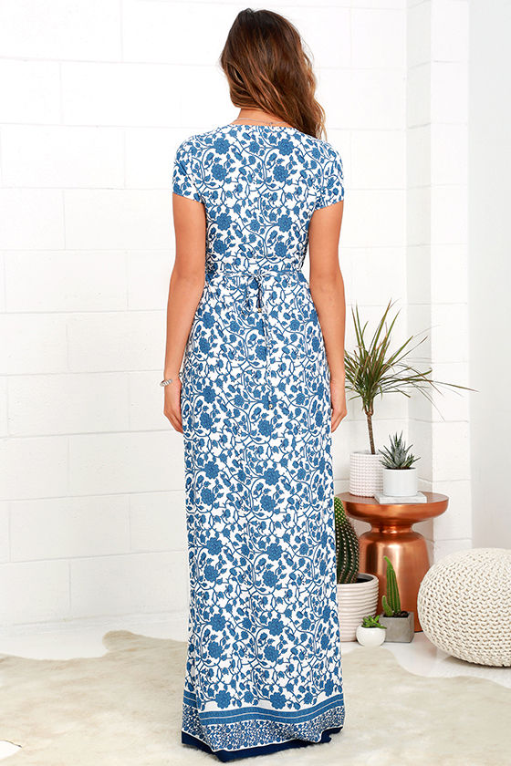 French Doors Ivory and Blue Floral Print Wrap Maxi Dress 5