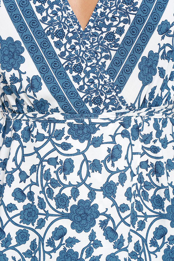 French Doors Ivory and Blue Floral Print Wrap Maxi Dress 7