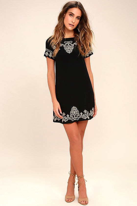 Cute Beige and Black Dress - Embroidered Dress - Shift Dress - $59.00
