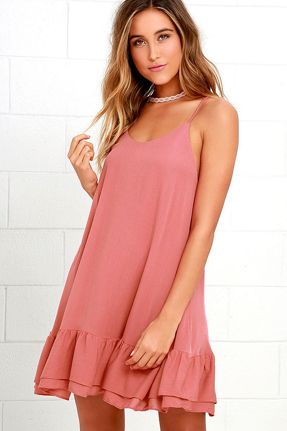 Cute Rusty Rose Dress - Shift Dress - Ruffle Dress - $46.00