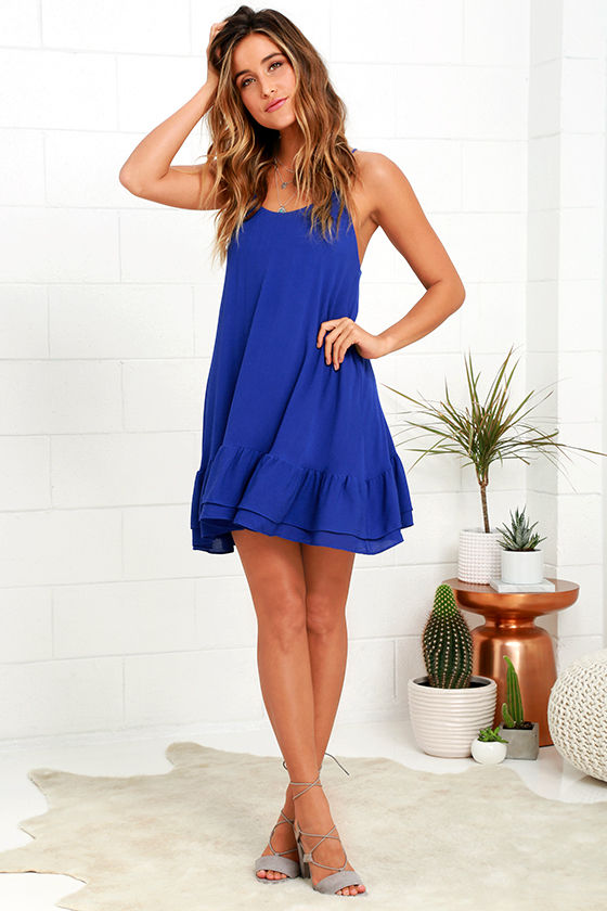 Cute Royal Blue Dress - Shift Dress - Ruffle Dress - $46.00