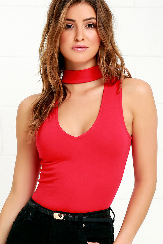 Sexy Red Bodysuit - Sleeveless Bodysuit - Red One-Piece -  29.00 f30740bf3