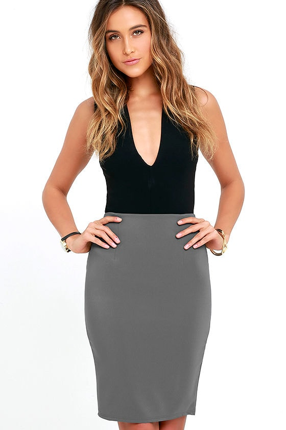Chic Dark Grey Skirt - Pencil Skirt - High-Waisted Skirt - $32.00