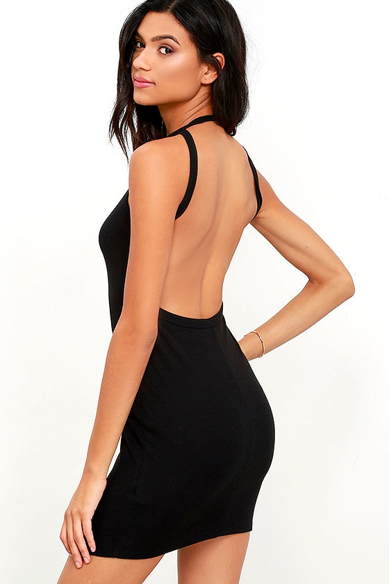 f354960c0e01 Flaunt What You Got Black Backless Bodycon Dress