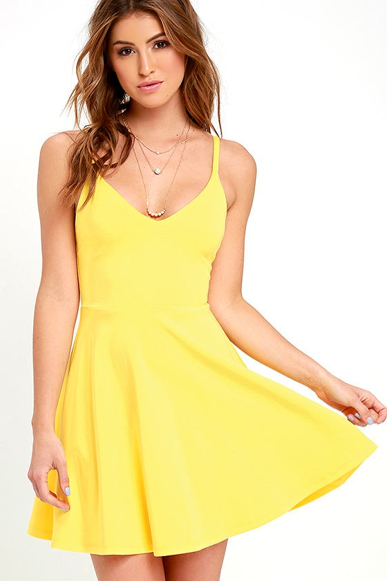 eaeab8c0e747a Cute Yellow Dress - Skater Dress - Fit-and-Flare Dress -  54.00