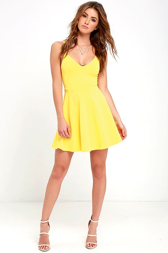 Cute Yellow Dress - Skater Dress - Fit-and-