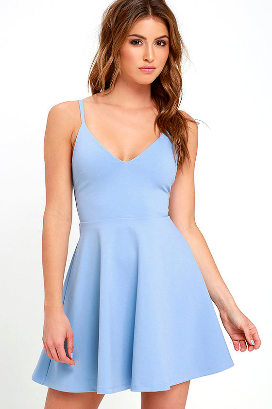 6aea814d0e6b Meet - Cute Light Blue Dress - Fit-and-Flare Dress - Skater Dress ...