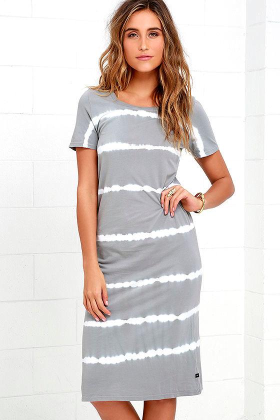 e5246aee6a3 Obey Ebba - Grey Tie-Dye Dress - Midi Dress - T-Shirt Dress -  52.00