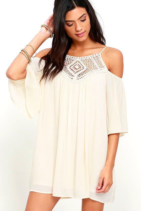 Lovely Cream Dress - Crochet Dress - Shift Dress - $45.00