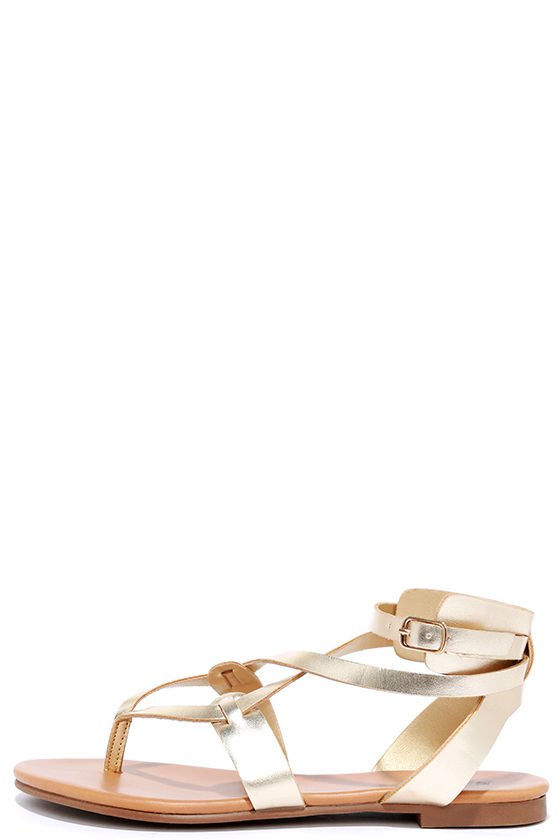 Boho Babe Champagne Gold Thong Sandals 1