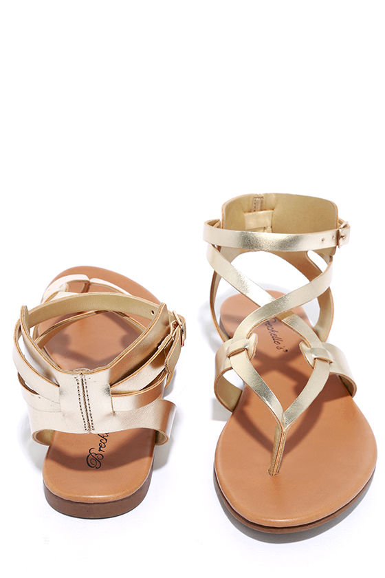 Boho Babe Champagne Gold Thong Sandals 2