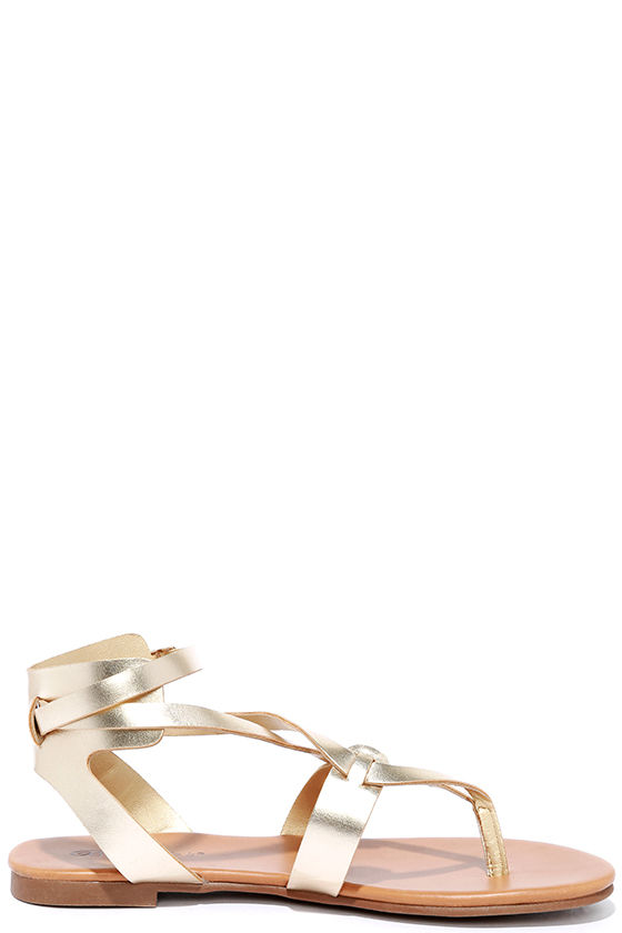 Boho Babe Champagne Gold Thong Sandals 3