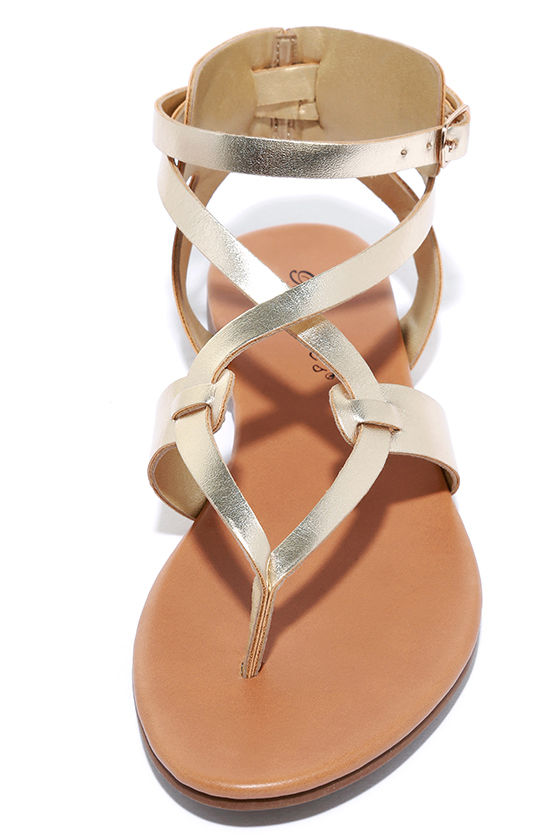 Boho Babe Champagne Gold Thong Sandals 4