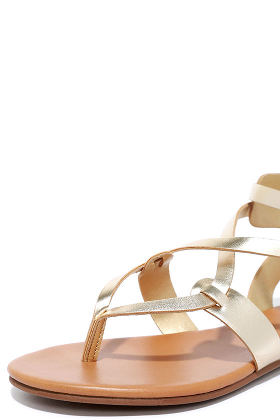Boho Babe Champagne Gold Thong Sandals 5