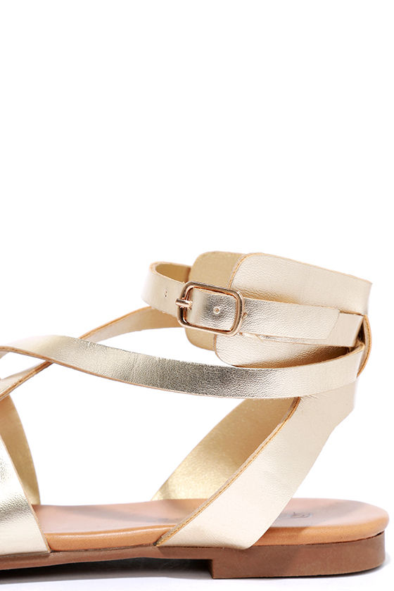 Boho Babe Champagne Gold Thong Sandals 6