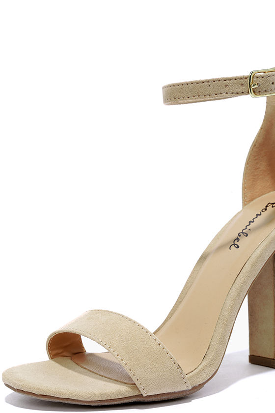 Pretty Nude Heels - Ankle Strap Heels - $28.00