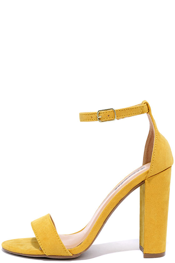 71a943fb7ce Social Scene Yellow Suede Ankle Strap Heels