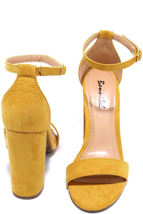6015d6b561 Pretty Ankle Strap Heels - Yellow Heels - Stiletto Heels