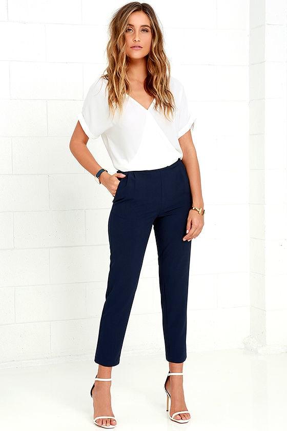 Kick It Navy Blue Trouser Pants 1