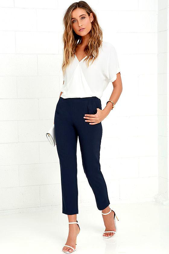 chic navy blue pants  trouser pants  dress pants  4200