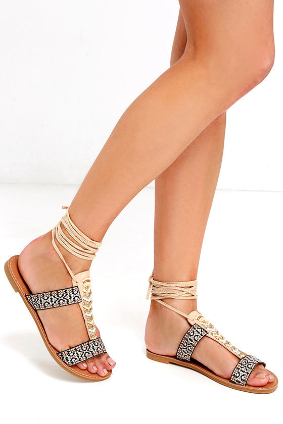 62cd6f79d3b61a Lace-Up Sandals - Beaded Sandals - Beige Sandals -  19.00