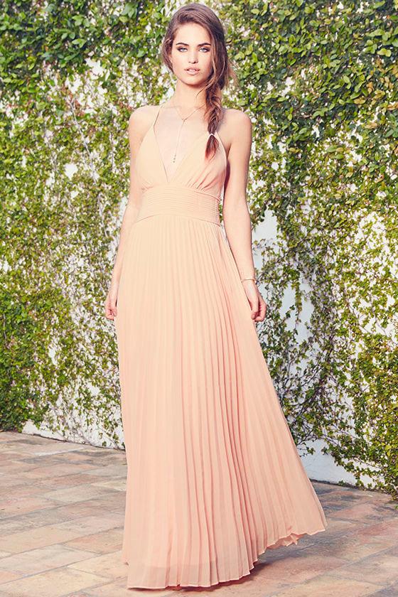 1823f02878 Stunning Peach Dress - Pleated Maxi Dress - Peach Gown -  78.00