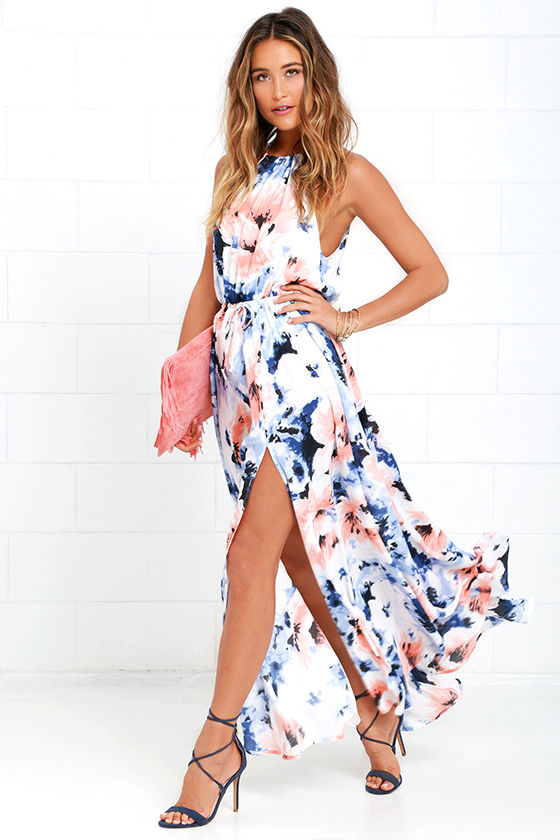 Floral Print Dress Maxi Dress Peach And Blue Dress