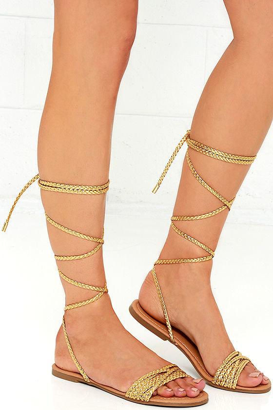 Cute Gold Sandals - Flat Sandals - Lace