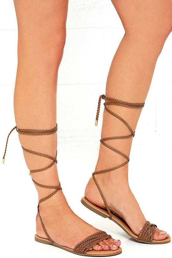 Flat Tan Lace Up Shoes