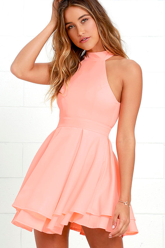 Cute Bright Peach Dress - Skater Dress - Backless Dress