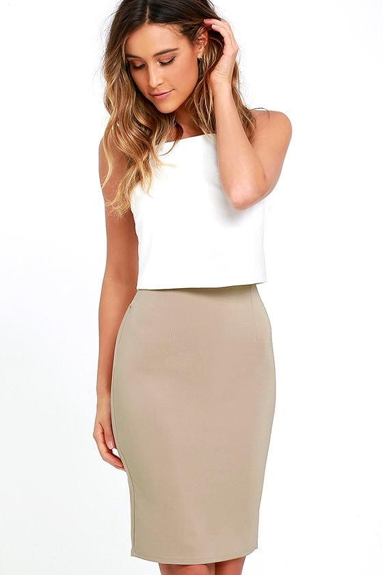 Chic Beige Skirt - Pencil Skirt - High-Waisted Skirt - $32.00