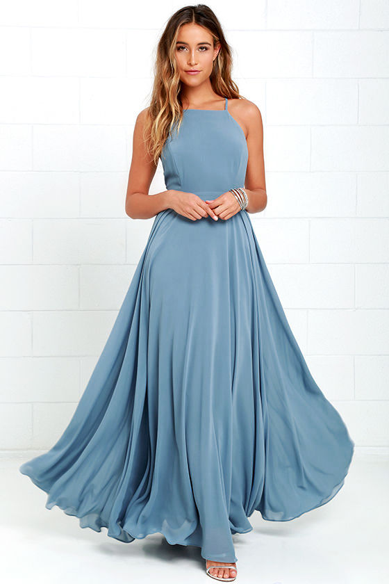 Beautiful Slate Blue Dress - Maxi Dress - Backless Maxi Dress - $64.00