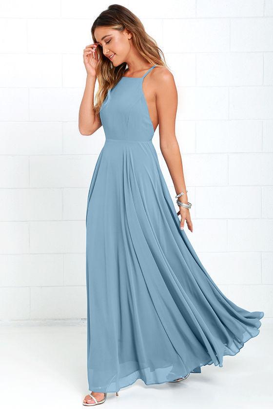 Beautiful Slate Blue Dress - Maxi Dress - Backless Maxi Dress - $64.00