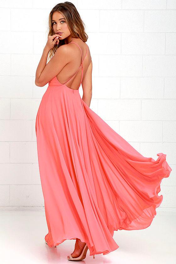 Beautiful Coral Pink Dress Maxi Dress Backless Maxi