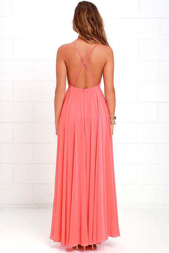 beautiful coral pink dress - maxi dress - backless maxi dress - $64.00