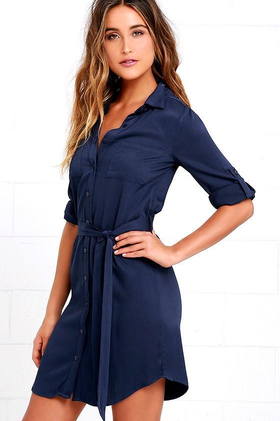 Navy Blue Dress - Shirt Dress - Long Sleeve Dress - $58.00