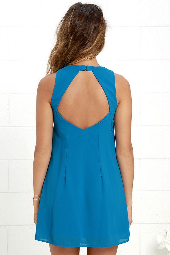 Blue Dress - Shift Dress - Sleeveless Dress - $44.00